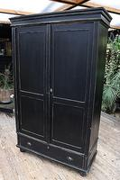 Gorgeous! Large Old Victorian Pine & Black Painted Hall Cupboard / Wardrobe - We Deliver! (9 of 10)