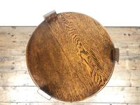 Early 20th Century Antique Oak Circular Side Table with shelf (5 of 9)