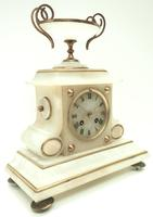 Fine French 8-Day Mantel Clock Alabaster Clock with Ormolu Mounts Striking A Bell (4 of 10)
