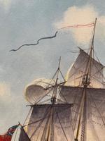"Seascape Oil Painting Naval Frigate Ships Napoleonic War Sea ""Battle Trafalgar"" (14 of 25)"