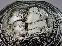 Super Rare German 800 Solid Silver Napoleon Tobacco Snuff Box c.1900 (2 of 10)