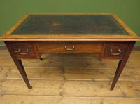 Antique Writing Table with Drawers and Aged Leather Top (10 of 19)