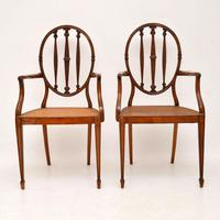Pair of Antique Satinwood Cane Seated Armchairs (5 of 12)