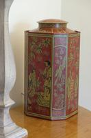 Matching Pair of Octagonal Toleware Canisters (2 of 6)