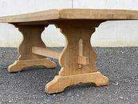 Bleached Oak Trestle End French Farmhouse Dining Table (9 of 22)