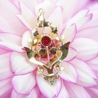 Antique 15ct Gold Garnet & Pearl Floral Pendant, Art Nouveau Victorian Pendant (4 of 5)
