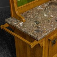 Arts & Crafts Oak Washstand with Marble Top (13 of 14)