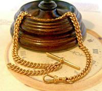 Victorian Pocket Watch Chain 1890s Antique Large 14ct Rose Gold Filled Albert With T Bar