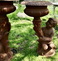 Pair of Classical Iron Planters in the Form of the Gemini Twins (2 of 8)