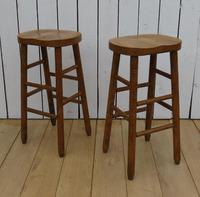 Pair of Oak Tall Bar Stools (8 of 8)