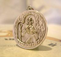 Vintage Pocket Watch Chain Silver St Christopher Fob 1977 Large Solid Silver Fob