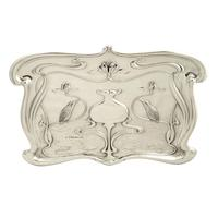 Antique Art Nouveau Sterling Silver Kingfisher Bird Dressing Tray 1903