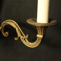French Pair of Gilded Brass Antique Wall Lights (5 of 8)