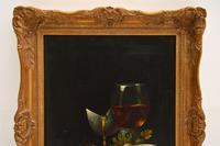 Antique Still Life Oil on Board Painting by F.V Knapp (4 of 8)