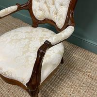 Stunning Mahogany Upholstered Antique Armchair (6 of 7)