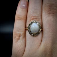 Antique Natural Opal & Rose Cut Diamond Halo 18ct 18k Yellow Gold Ring (5 of 8)