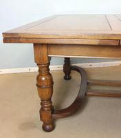 Large Antique Oak Extending Drawleaf Dining Table (9 of 15)