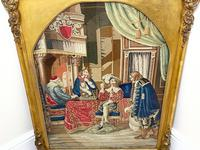"""Large Artwork Gilt Gesso Framed 19th Century Tapestry French Royal Court """"Playing Chess"""" (41 of 44)"""