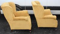 Pair 1940s Mahogany Wingback Armchairs Upholstered in Gold (3 of 3)