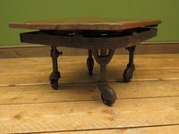 Small Industrial Antique Vono Cart Trolley Coffee Table with Bakelite Castors (6 of 17)