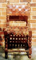Antique Wood Riveted Woven Leather Seat Chair 19th Century (5 of 5)