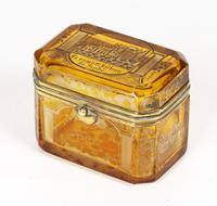 Bohemian Antique Engraved Metal Mounted Overlay Yellow Glass Sugar Casket 19th Century (8 of 19)