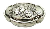 Antique Victorian Sterling Silver 'Cherub' Ring Box 1898 (2 of 9)