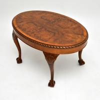 Antique Burr Walnut Oval Coffee Table (3 of 8)
