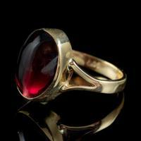 Antique Victorian 6ct Cabochon Garnet Ring 9ct Gold Circa 1900 (3 of 7)