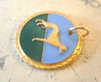 Vintage Pocket Watch Chain Fob 1940s Rose Gilt & Enamel Greyhound Dog Nos (4 of 7)