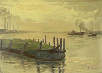 Oil of Tugs in Port (2 of 4)