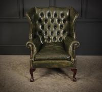 Vintage Green Leather Wing Chair (4 of 25)