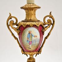 Pair of Antique French Porcelain & Gilt Metal Table Lamps (2 of 12)