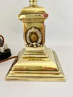 Brass Desk Lamp with Vaseline Shade C1910 (3 of 11)