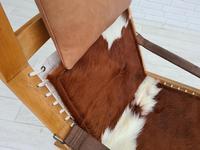 Scandinavian armchair, adjustable back, cowhide, 70s (2 of 20)