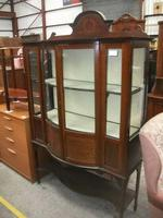 Bow Front Inlaid Mahogany Glazed Cabinet on Tapered Legs