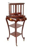 Edwardian Inlaid Mahogany Revolving Bookcase on Stand