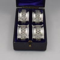 Cased Set 4 Victorian Silver Napkin Rings Nautical / Fishing Theme (2 of 10)