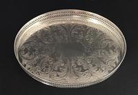 Small Oval Silver Plated  Vintage  Gallery Drinks Tray (3 of 3)