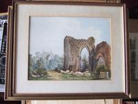 19th Century Watercolour of Newminster Abbey, Northumberland. (4 of 4)