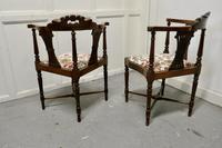 Pair of Edwardian Walnut Corner Chairs (5 of 6)