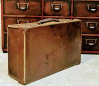 Antique 19th Century Small Brown Leather Suitcase (2 of 6)