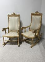 Pair of Regency Painted & Parcel Gilt Rocking Chairs (4 of 17)