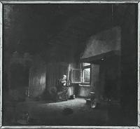 17th / 18th Century Dutch Oil on Oak Panel Old Lady Spinner Manner of Quirijn Van Brekelenkamp Interior Scene Portrait Painting (4 of 7)