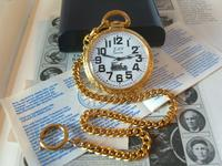 Vintage Pocket Watch 1970s Railroad 12ct Gold Plated Swiss & West Germany Nos (2 of 12)