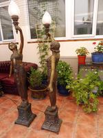 2 Bronze Art Nouveau Style Lamps (6 of 12)