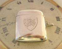Antique Silver Vesta Case 1899 Victorian With Coat Of Arms Maker Hunsley & Co (4 of 9)
