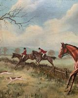 'The Fox Hunt' Original Vintage Country Sporting Pursuit Oil on Canvas Painting (12 of 17)