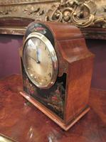 Antique Walnut Cased Chinoiserie Mantel Clock (6 of 7)