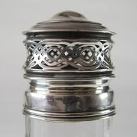 Antique Edwardian Cut Crystal Glass Sugar Shaker with Sterling Silver Top (3 of 7)